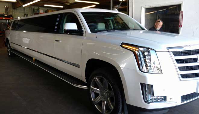 2017 Cadillac Escalade Limo in white