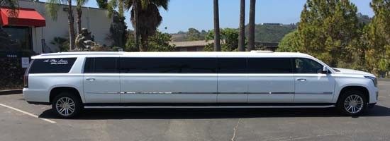white escalade limo right side view